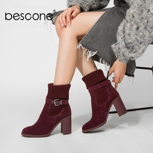 BESCONE Fashion Ladies Ankle Boots Casual Slip-On Round Toe Square Heel Shoes Handmade 9 cm Super High Heel Women Boots BC307 цены онлайн