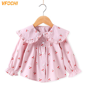 Image 1 - VFOCHI 2020 New Girls Blouse Kids Tops Ruffled Collar Girls Long Sleeve Shirt Children Wedding Clothing Baby Girl Top Tee Shirts
