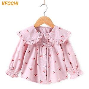 Image 1 - VFOCHI 2020 Новая блузка для девочек, детские топы, рубашка с оборками на воротнике и длинными рукавами для девочек, детская свадебная одежда, топ для маленьких девочек, футболки