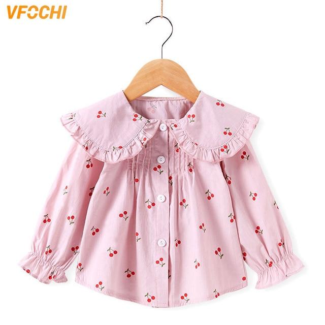 VFOCHI 2020 Новая блузка для девочек, детские топы, рубашка с оборками на воротнике и длинными рукавами для девочек, детская свадебная одежда, топ для маленьких девочек, футболки
