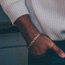 Vnox 5mm Figaro chaîne Bracelets pour hommes femmes ton or acier inoxydable liens métal bracelet élégant mode 3:1 NK gourmette chaîne
