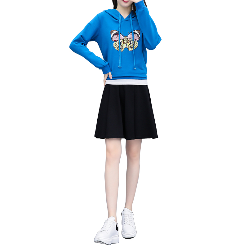 New Fashion Bluse Hoodies amp Black Skirt Leisure Long Sleeved Hood A Word Skirt Embroidered Coat Two Piece Outfit Plus Size XL 5X in Women 39 s Sets from Women 39 s Clothing