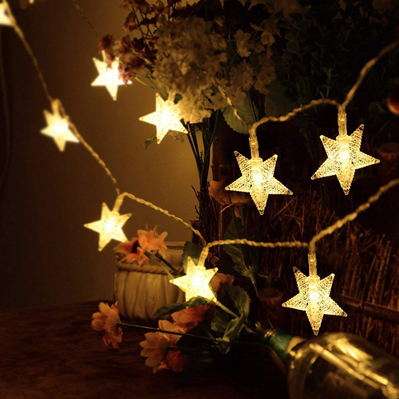 5M 20LED 220V EU Plug LED Christmas Star Fairy Garlands Light String Lights Outdoor/Indoor For Xmas  Party New Year Decoration