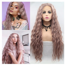 Zesen perucas dianteiras do laço da onda profunda cor-de-rosa puro 2 cores disponíveis 26 polegadas perucas sintéticas da parte dianteira do laço para mulher