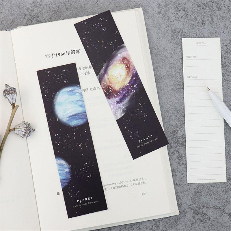 30Pcs/Set Planet Bookmark Message Card Creative Paper Bookmarks Book Holder Scho