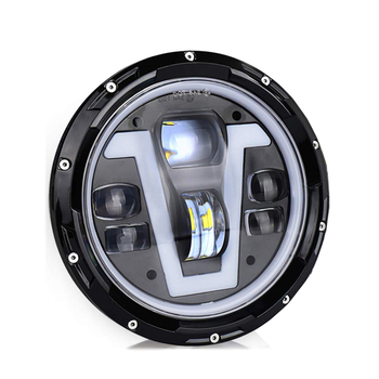 1 PCS LED headlamp 7 inch round headlight with halo ring