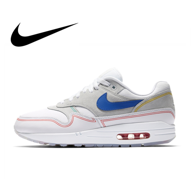 Original Authentic Nike Air Max 1 Pompidou Women's Running Shoes Sport Outdoor Sneakers Athletic Designer Footwear AV3735-002