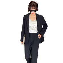 2019 autumn new ladies black suit Pants suit large size Casual lady suit jacket female Two-piece slim trousers Office suit ladies black suit 2019 autumn new temperament lady business office suit jacket female fashion trouser suit two piece overalls