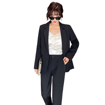 2019 autumn new ladies black suit Pants suit large size Casual lady suit jacket female Two-piece slim trousers Office suit