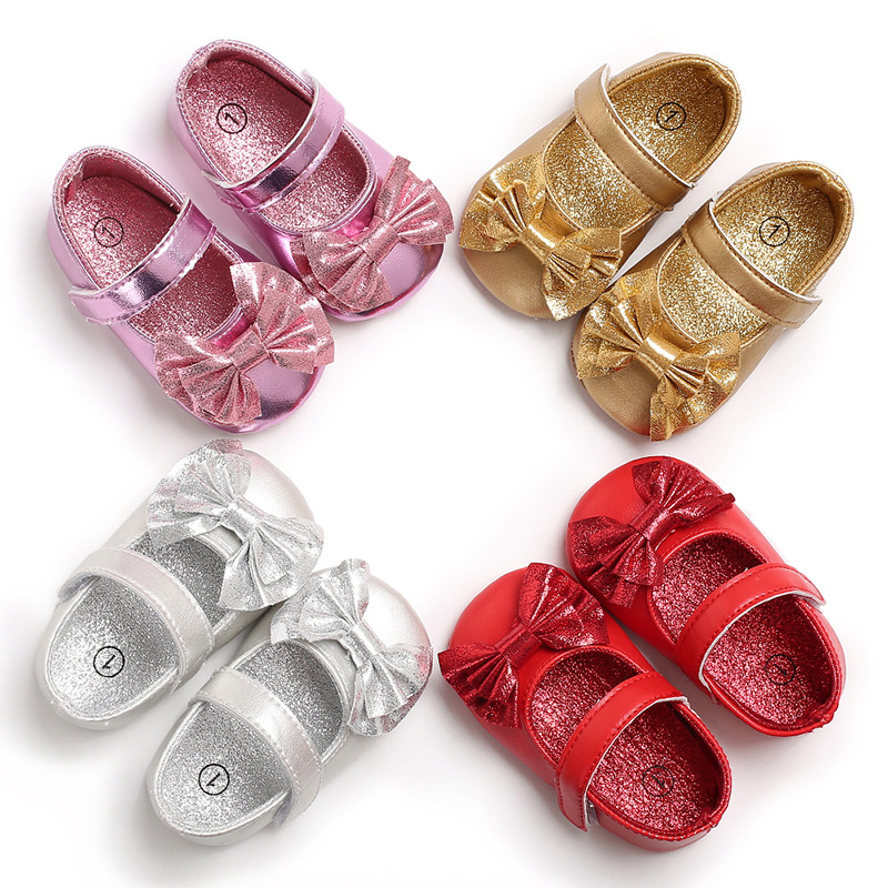 LANSHITINA PU Leather Princess Crib Shoes Sneakers Indoor Toddler Shoes First Walkers Soft Gold Silver Girls Boot For Kids B175