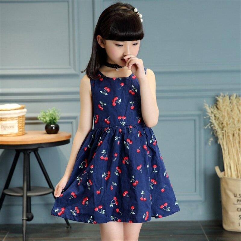 Girls Clothing Summer Girl Dress Children Kids Berry Dress Back V Dress Girls Cotton Kids Vest Dress Princess Party Dress girl