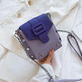Rivets Mini Contrast Color PU Leather Crossbody Bags For Women 2020 Shoulder Handbags And Purses Female Travel Cross Body Bag