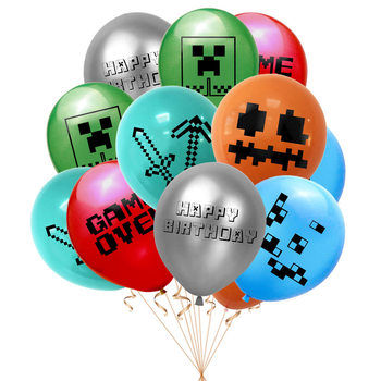 Minecraft New 12pcs Balloon Set Party Balloon Set Pixel Game Party Decoration Supplies Miner Player Children's Adult Toy Gifts