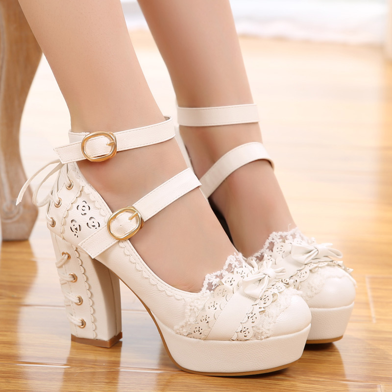 Anime cosplay lolita shoes sweet princess daily vintage lace bowknot bandage kawaii shoes round head high heel <font><b>women</b></font> shoes <font><b>loli</b></font> image