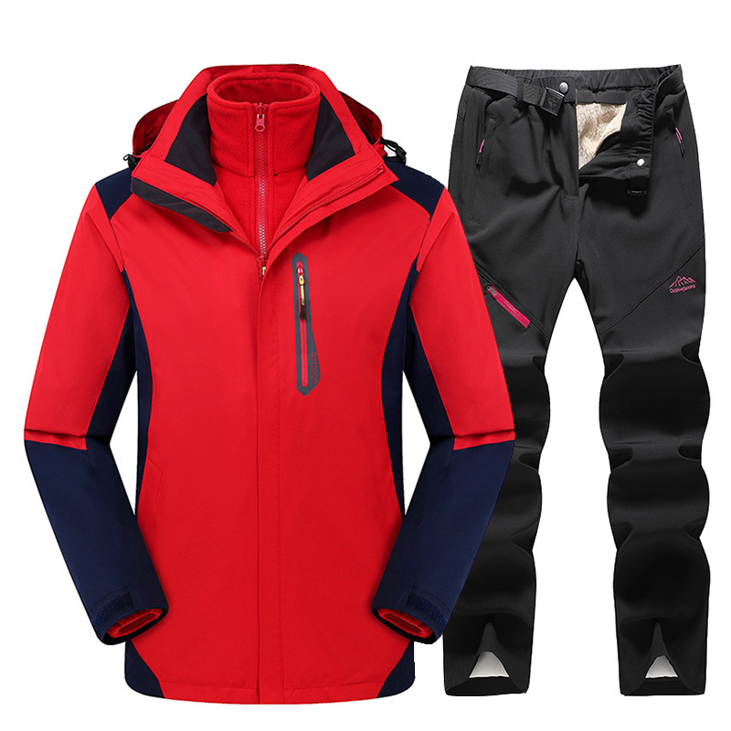 2019 New Thick Warm Ski Suit For Women Outdoor Ski Pants Windproof Waterproof Ski Snowboard Jacket Suit Winter Ski Jacket Women
