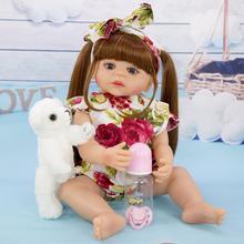 цена на 54CM Simulation Newborn girl Reborn Doll Long hair bebe reborn  Dolls silicone vinyl body Doll for Children Birthday Xmas Gift