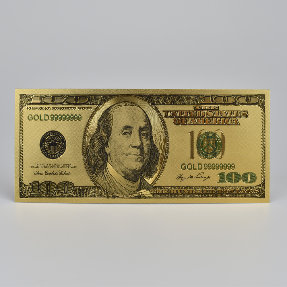 USA <font><b>100</b></font> <font><b>Dollar</b></font> <font><b>Bills</b></font> Fake Money 500 Euro 24K Gold Plated <font><b>Dollars</b></font> Decoration Gold Gifts Decoration gift Gold banknotes image