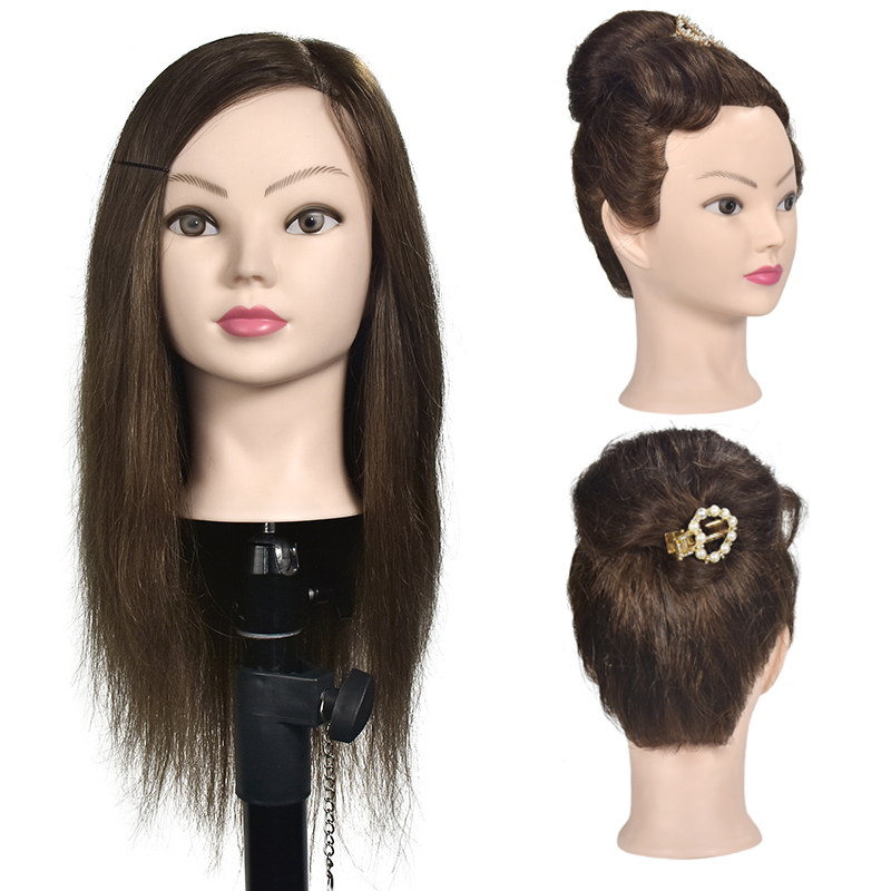 Hairdressing Mannequin Head Natural Human Hair For Hairstyles Hairdressers Curling Practice Training Head With Stand