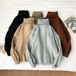 Winter Turtleneck Sweater Men Warm Fashion Solid Color Casual Knit Pullover Men Loose Long Sleeve Sweter Male Clothes M-2XL