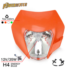 Reflektor motocyklowy reflektor Fairing z H4 żarówka dla KTM EXC SX XC XCW XCF XCF SXF SMR EXCF 125 150 250 300 350 450 530 ATV