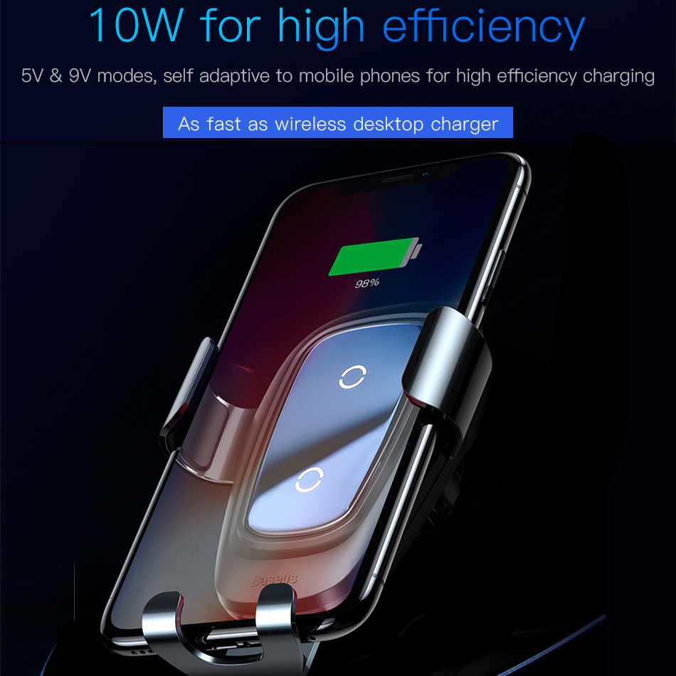 Baseus car phone holder 10w qi wireless charger for iPhone X Samsung S10 S9 S8 phone holder car phone power charger in air vent 3