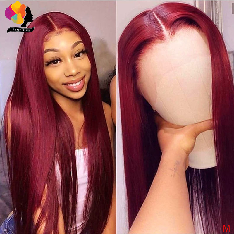 Brazilian 99J Wigs 13*4 Lace Front Human Hair Wig Remyblue Remy 150 Straight Hair Lace Front Wig With Baby Hair Natural Hairline