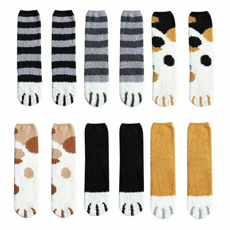 Casual Women Sock Fluffy Warm Slipper Socks Winter Fall Fuzzy Cute Girl Cat Paw Home Sleeping Animal Socks Hosiery 2019 Hot Sell
