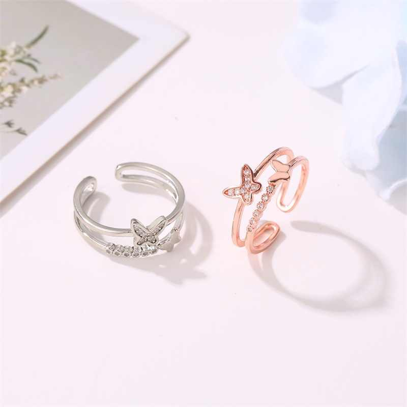 แฟชั่นแหวนเครื่องประดับหญิงคู่แหวนผีเสื้อผู้หญิงยอดนิยม Rose Gold Zircon แหวนปากเปิดแหวนปรับของขวัญ