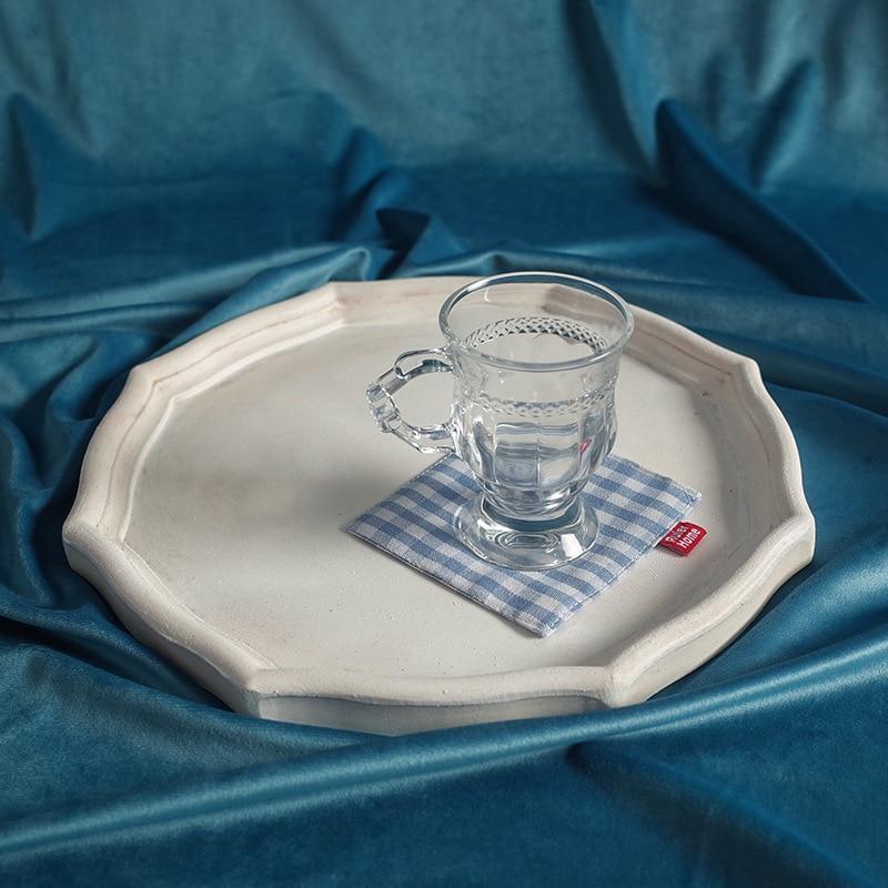 Vintage White Wooden Tray Desktop Decorative Tea Fruit Makeup Jewelry Display Storage Plate