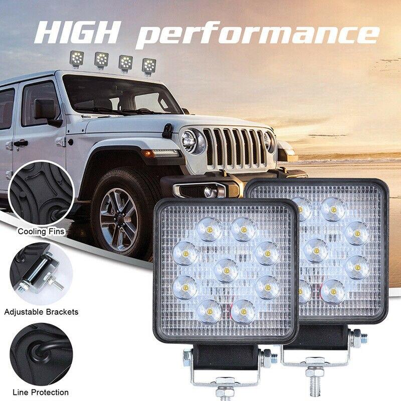 Lâmpada led de trabalho 27w, luz do carro 12v 24v led para jeep atv uaz suv 4wd 4x4 trator de caminhão luz fora da estrada