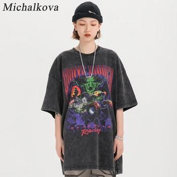 michalkova tie dye anime punk Oversized Summer Men/Women Hip Hop Fashion Gothic Print T-shirt Men Streetwear graphic tees 2020 summer women oversized tee shirt punk tie dye print loose t shirt female harajuku streetwear hip hop graphic t shirt