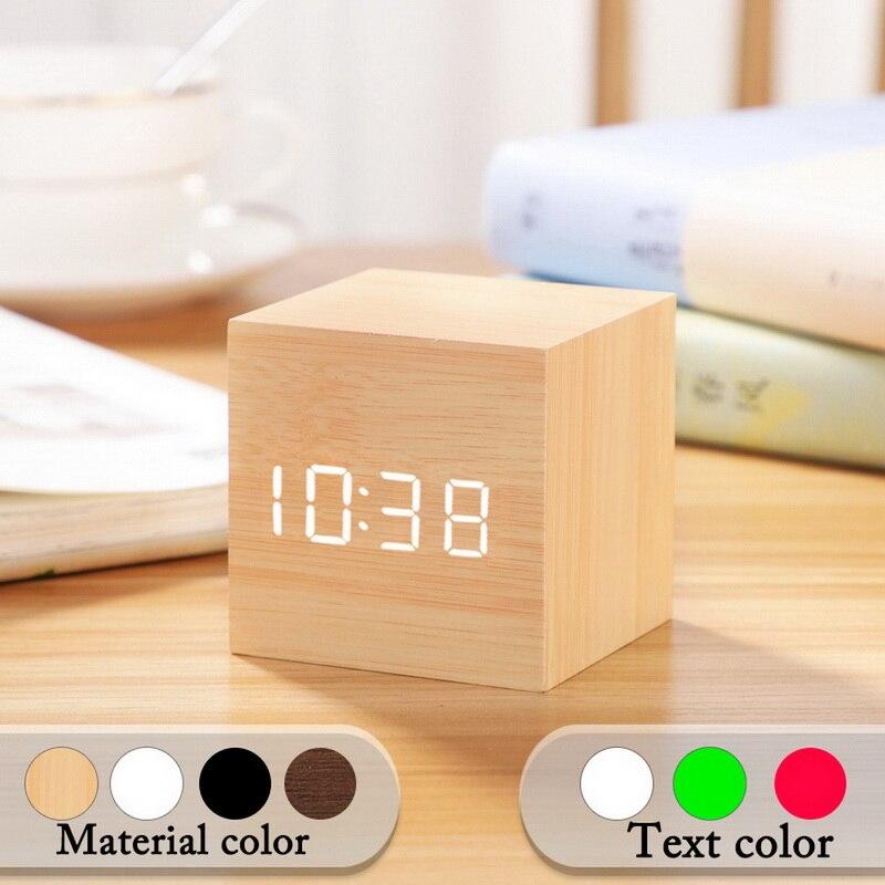 Small Square Digital Wooden LED Alarm Clock Wood Retro Glow Clock Desktop Table Decor Voice Control Snooze Function Desk Tools