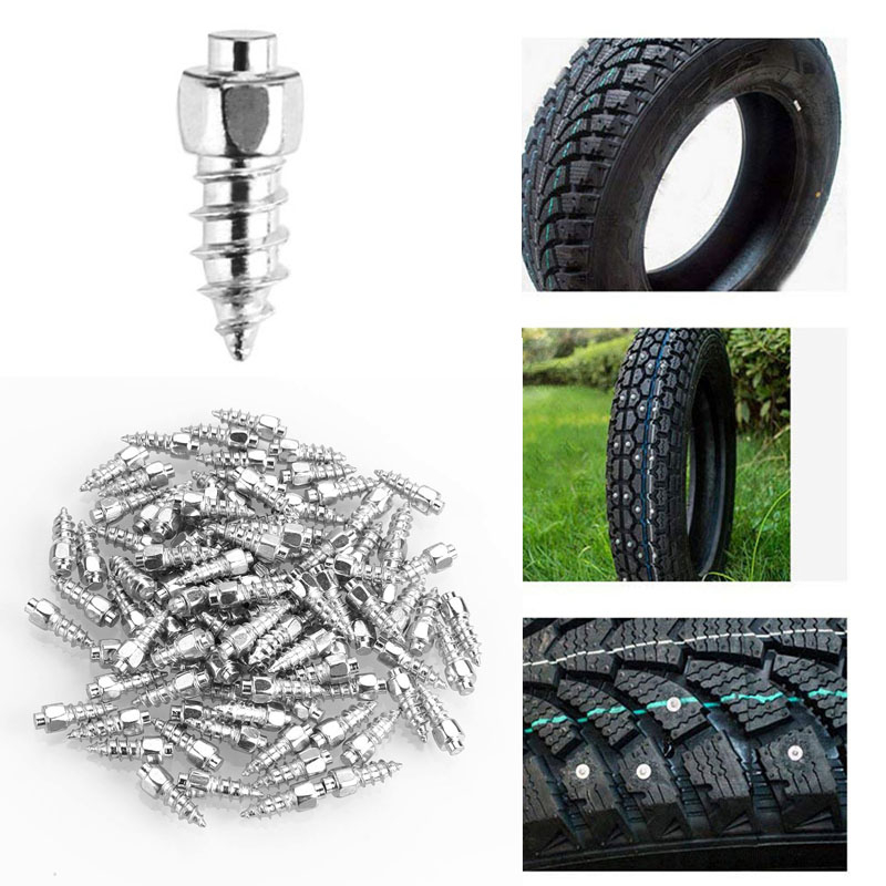 100Pcs Spikes For Tire Studs Ice Stud Screw-In Studs Snow Chains For ATV Mini-Tractors Motorcycle Bicycle Footwear