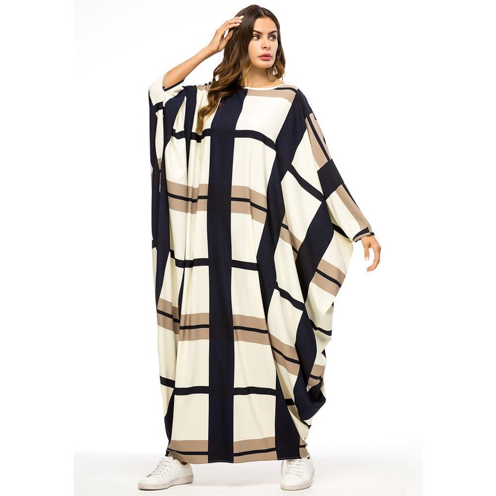Batwing Sleeve Printed Women Dress Ramadan Eid Dubai Abaya Plus Size Kaftan Gown Moroccan Robe African Dashiki VKDR2092
