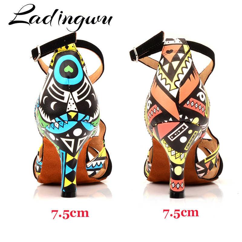 Ladingwu ร้อนผู้หญิงรองเท้าเต้นรำบอลรูมเต้นรำรองเท้า Ladys สาว Salsa Dance รองเท้าหนังนิ่มและโรงแรมพิมพ์หนังส้น