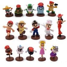 Hot Toys 15 Teile/satz 3 7cm Mario Bros Figur Luigi Yoshi PVC Action Figuren Spielzeug Puppen Mario Pfirsich prinzessin Pilz Kinder Geschenke