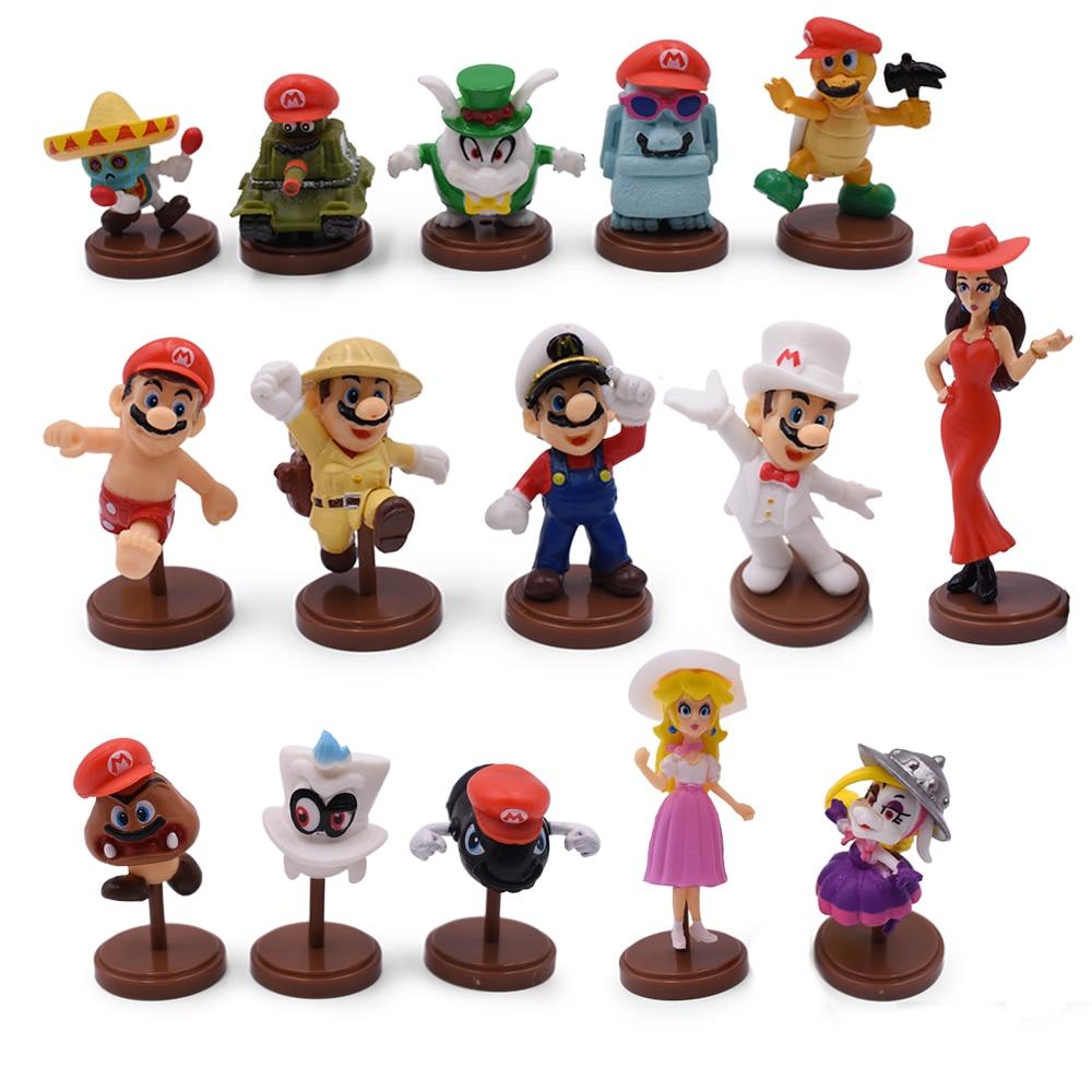 Hot Toys 15Pcs/Set 3-7cm Super Mario Bros PVC Action Figure Toys Dolls Mario Luigi Yoshi Mushroom Donkey Kong Kids Gift