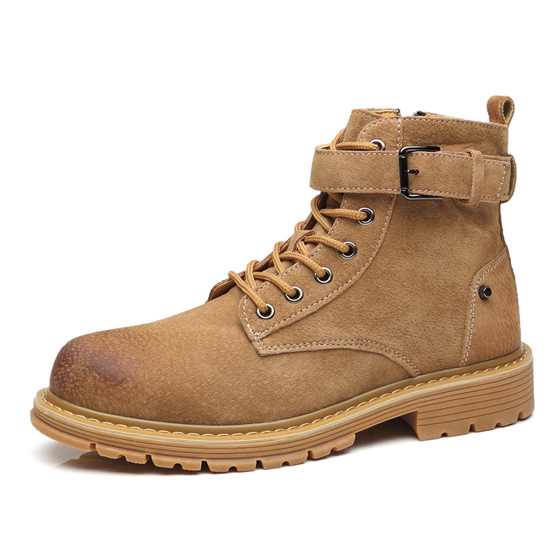 Martin boots men's summer Korean trend British short boots men's retro leather boots wild high to help desert tooling shoes