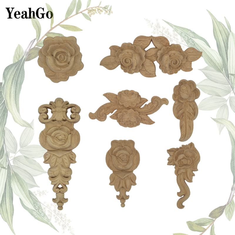 YeahGo Unpainted wood furniture door background wall decoration carving decals home decoration wood rose applique accessories