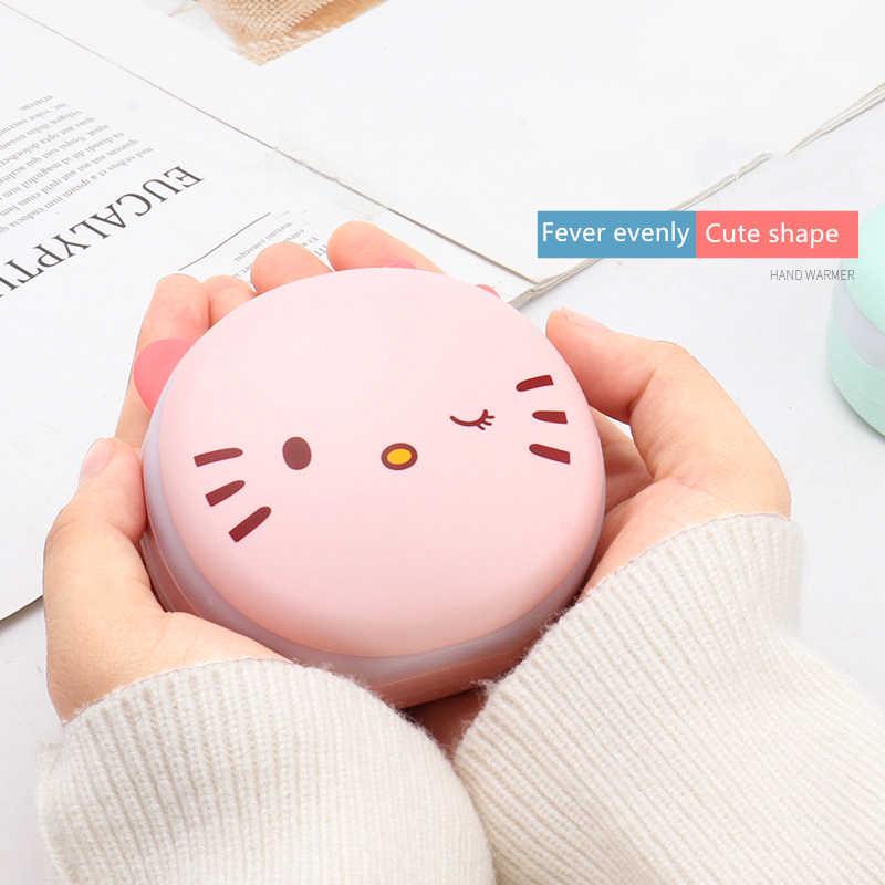 Qianyun חמוד USB נטענת נייד Pocket יד חם לחורף איפור מראה עם LED אור קומפקטי נסיעות נייד מראה