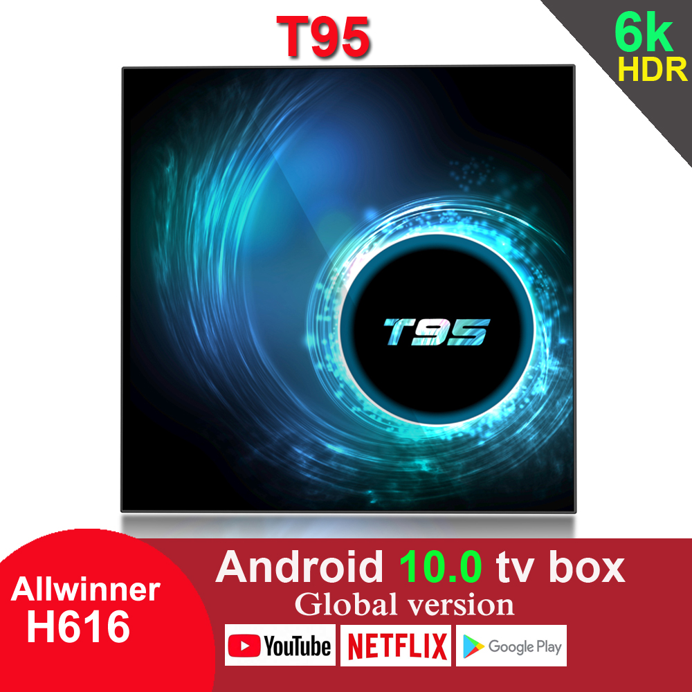 Prévente T95 Android 10.0 TV Box Allwinner H616 4GB 32GB 64GB 2.4G Wifi Youtube HDR Google Play 6K 2GB 16GB décodeur
