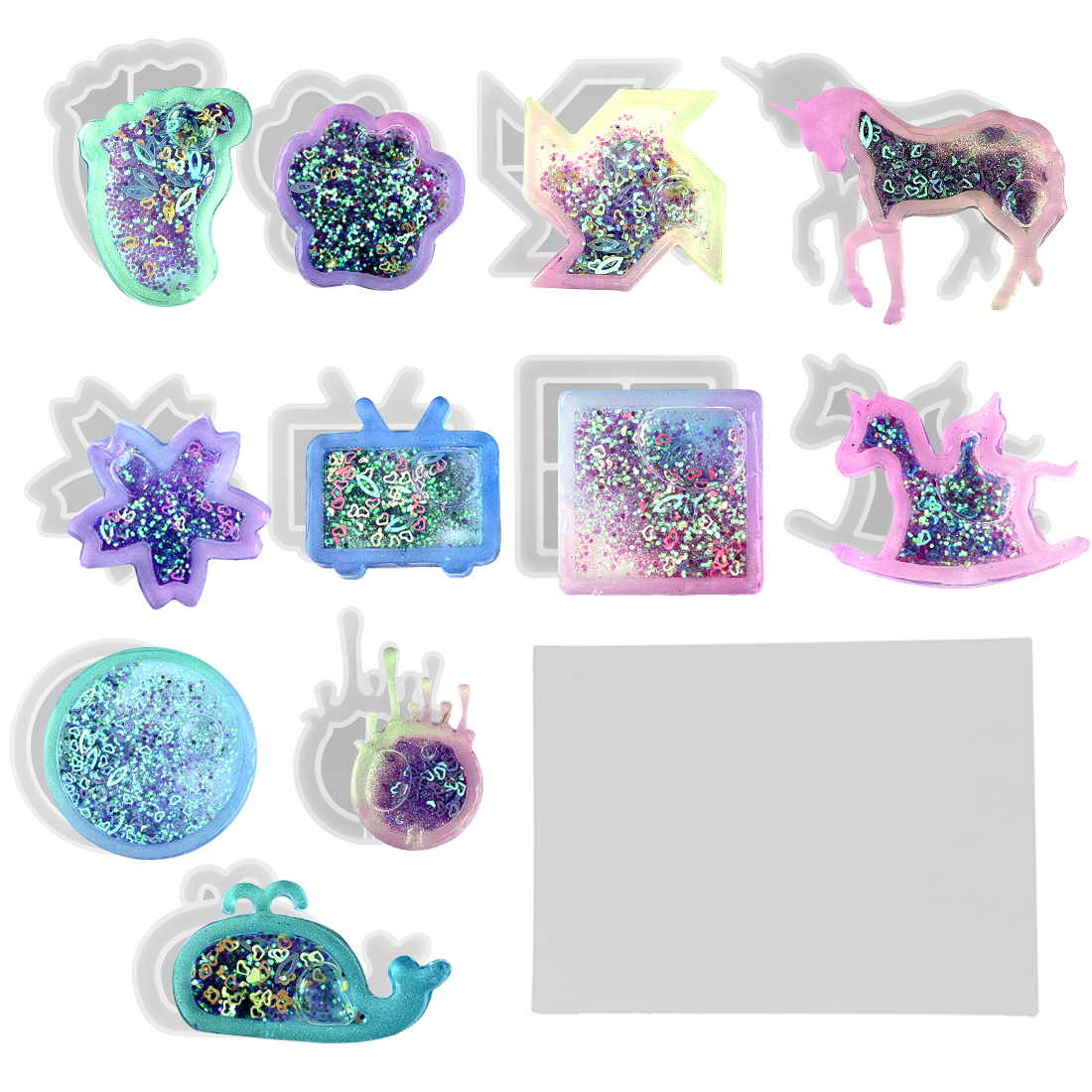 DIY Resin Shaker Epoxy Key Chain Charms Quicksand Bear Paw Silicone Mold Jewelry Making Pendant Craft Tools