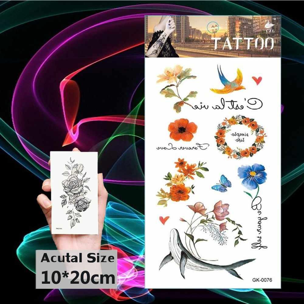 Corona de flores tatuajes impermeables falso tatuaje temporal flor transferencia de agua Tatoo delfín mujeres hombres niña niños cuerpo manos arte