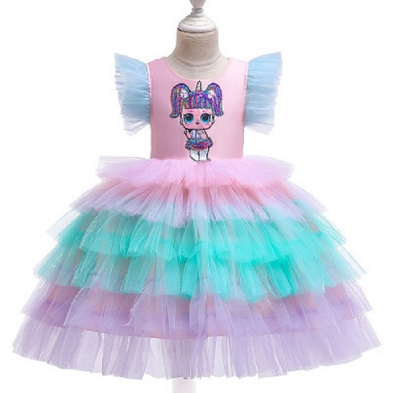 Summer Fancy Sequins Dress Girl Party Cake dress With surprise baby Pageant Costume children's clothes Vestido 3 8T in Dresses from Mother Kids