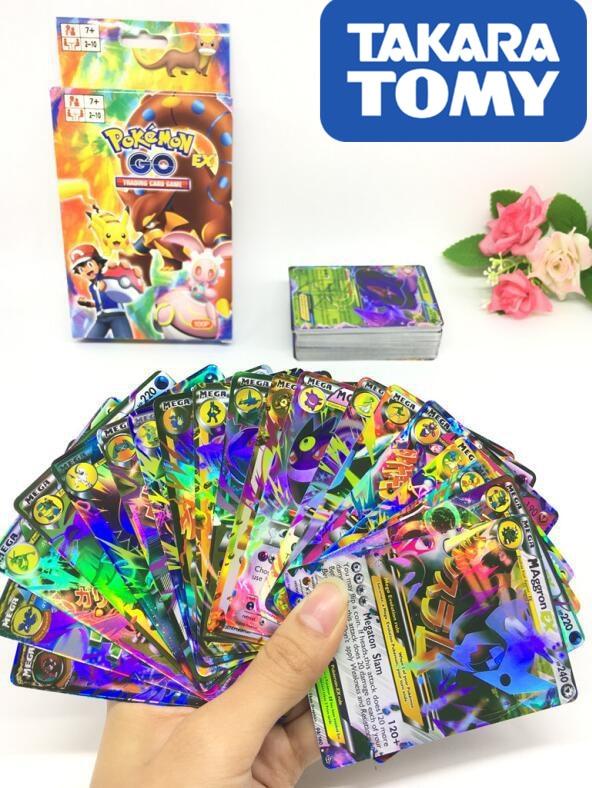 100pcs MEGA Flash Pokemon Cards TAKARA TOMY Pet Pokemon Cards 2019 The Newest Pokemon English MEGA  Card  Kids Toys