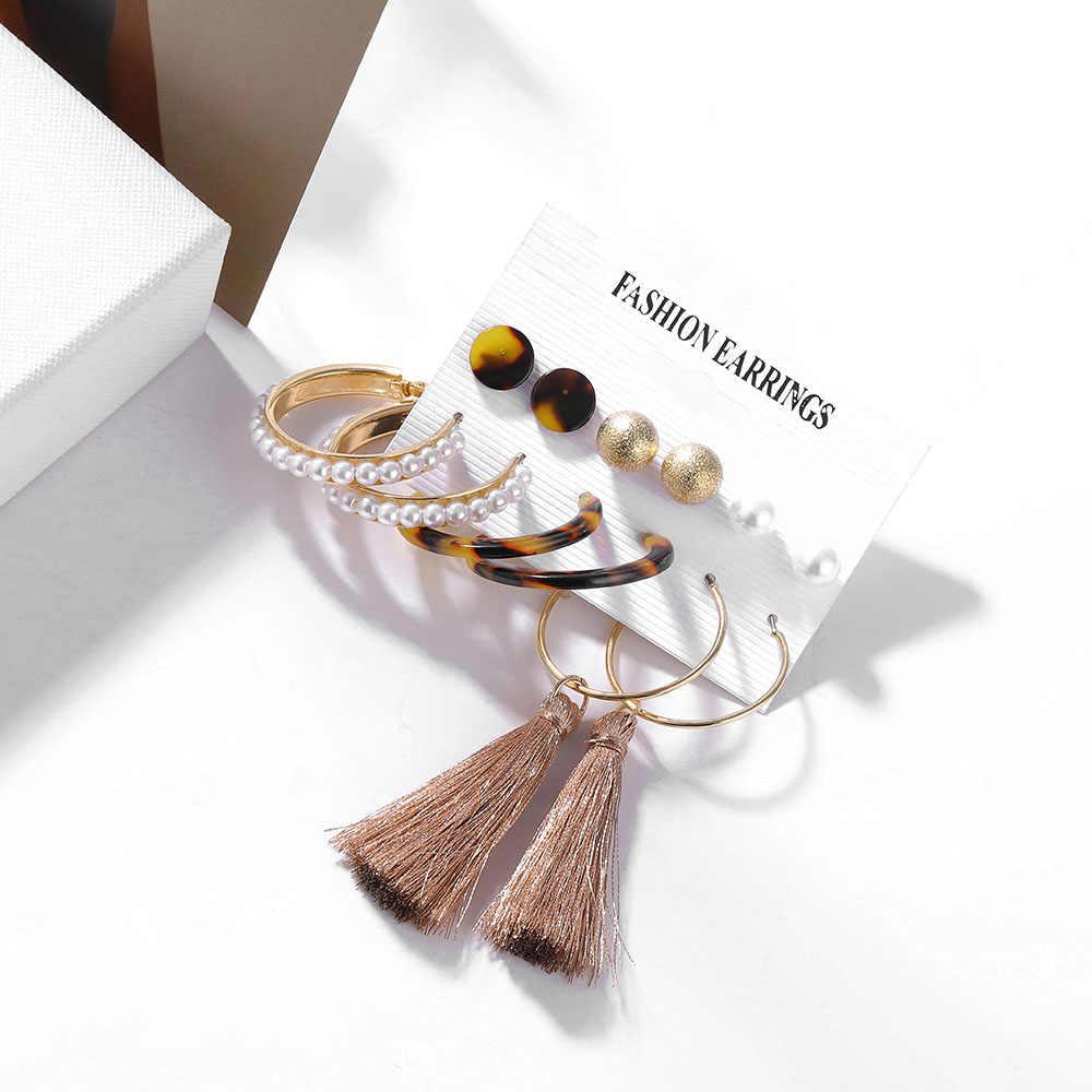 VKME czeski zestaw kolczyków tassel akrylowe kolczyki dla kobiet duże geometryczne kolczyki 2019 Brincos kobiety diy biżuteria