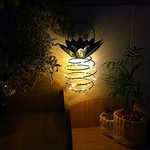 Home Decoration Solar Garden Lights Pineapple Outdoor Hanging Light Waterproof Wall Lamp Fairy Night Iron Wire Art