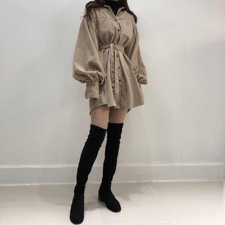 Hdde3a6611f964d37a3efae1090e70298j - Autumn / Winter Turn-Down Collar Long Sleeves Corduroy Solid Mini Dress