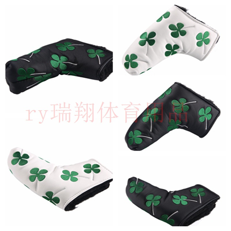 Hot Sales Golf Push Rod Case Exquisite Clover Pattern Embroidered Velcro Buckle Thick Fit Protection