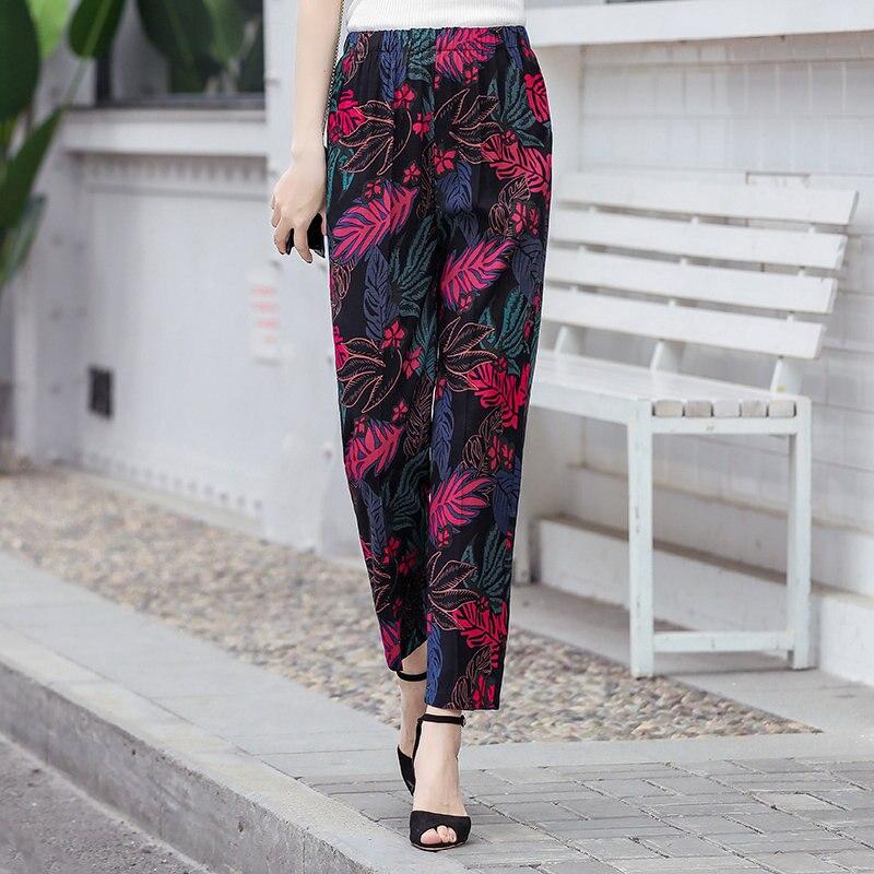 22 Colors 2020 Women Summer Casual Pencil Pants XL-5XL Plus Size High Waist Pants Printed Elastic Waist Middle Aged Women Pants 10